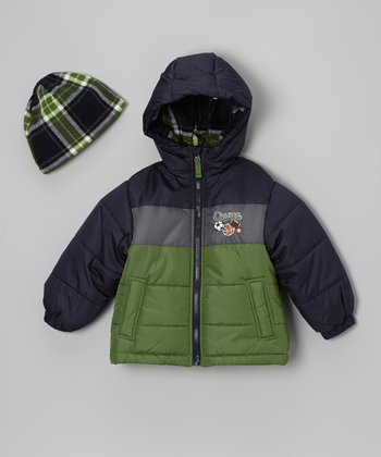 Green & Black 'Champ' Bubble Jacket & Beanie - Toddler