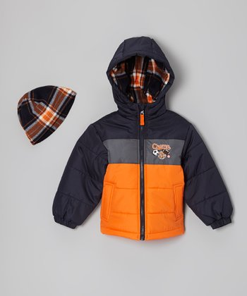 Orange & Black 'Champ' Bubble Jacket & Beanie - Toddler