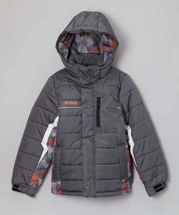 Gray & Orange Camo 'F.O.G.' Jacket - Boys