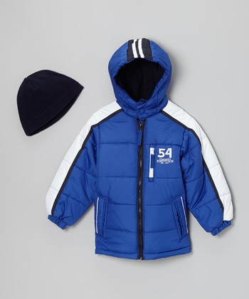 Blue & White '54' Bubble Jacket & Beanie - Boys