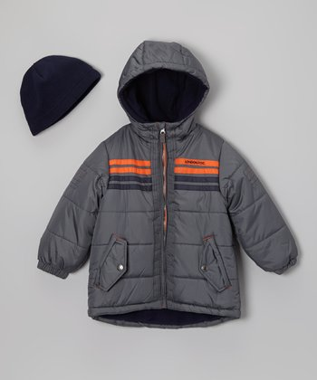 Gray & Orange Stripe Bubble Jacket & Beanie - Boys