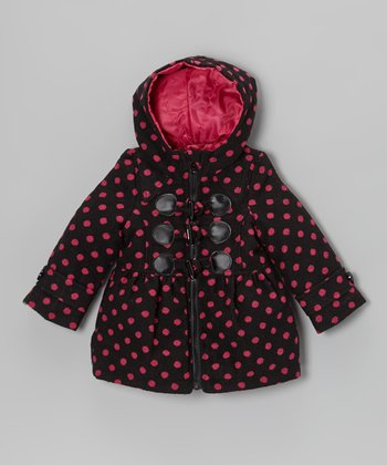 Pink Polka Dot Faux Wool Coat - Infant