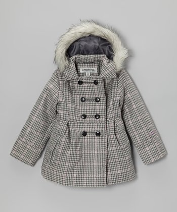 Pink & Gray Houndstooth Faux Wool Coat - Girls