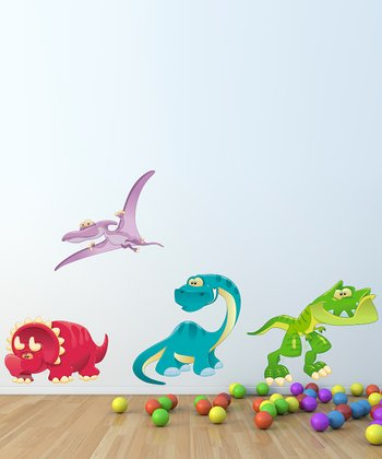 Cartoon Dinosaur Wall Decal Set
