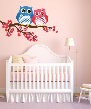 Pink & Blue Owls & Branch Wall Decal