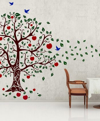 Brown & Dark Green Apple Tree Wall Decal