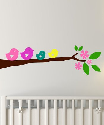 Bright Birdie Branch Wall Decal Set
