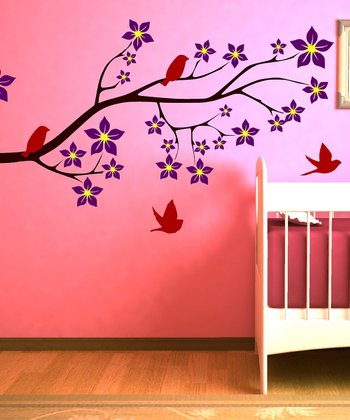 Brown & Orchid Birds on a Blossom Branch Wall Decal