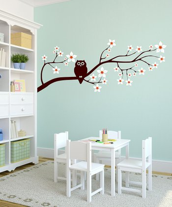 White Owl & Blossoming Branch Wall Decal