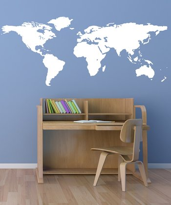 White World Map Wall Decal
