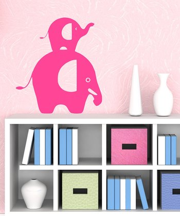 Hot Pink Stacked Elephant Wall Decal