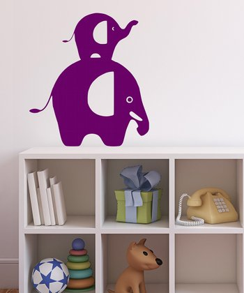 Orchid Stacked Elephant Wall Decal