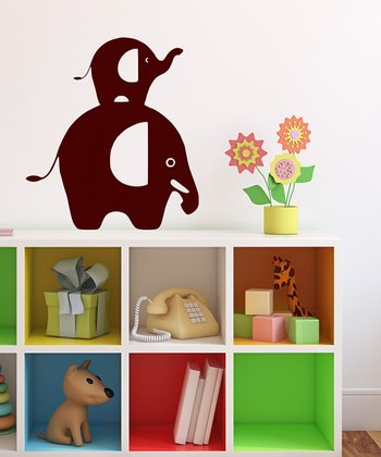 Brown Stacked Elephant Wall Decal