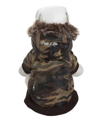 Green Camo Hooded Fashion Parka