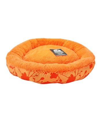 Orange Floral Round Pet Bed