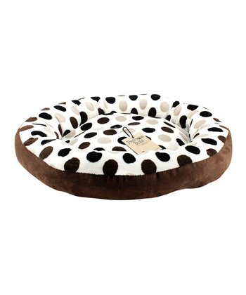 Brown Polka Dot Round Pet Bed