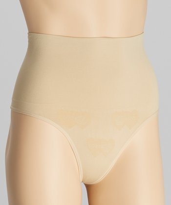 Nude Large Ribbed Seam Control Thong - Women