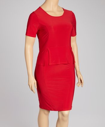 Red Peplum Dress - Plus