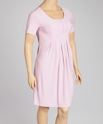 Pink Pleated Dress - Plus