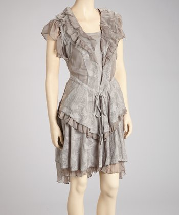 Gray Ruffle Sleeveless Dress