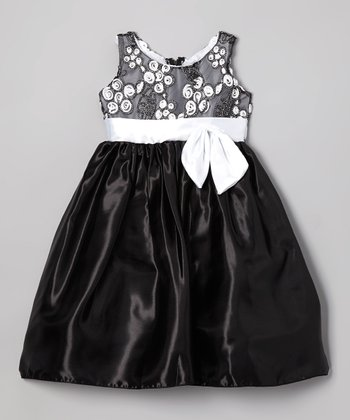 Black & White Rosette Bow Dress - Toddler & Girls