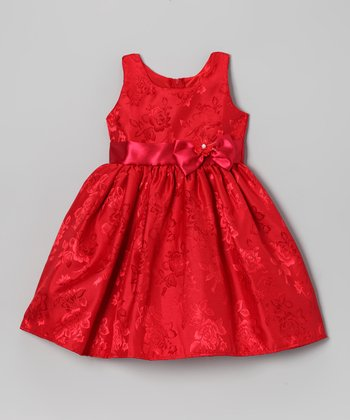 Red Rose Bow Satin Dress - Toddler & Girls