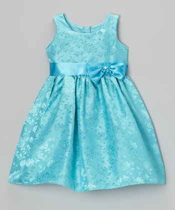 Turquoise Rose Bow Satin Dress - Toddler & Girls