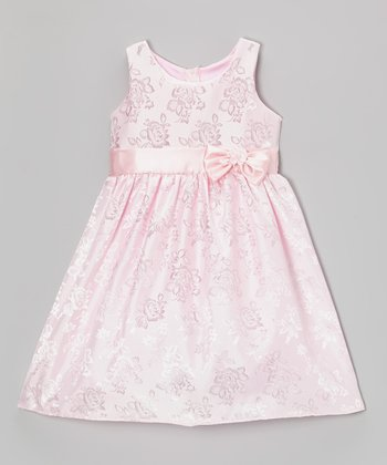 Pink Rose Bow Satin Dress - Toddler & Girls