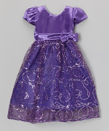 Purple Sequin Swirl Satin Dress - Toddler & Girls