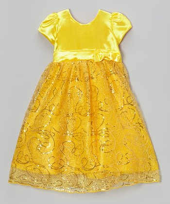 Yellow Sequin Swirl Satin Dress - Toddler & Girls