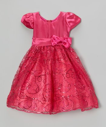Fuchsia Sequin Swirl Satin Dress - Toddler & Girls