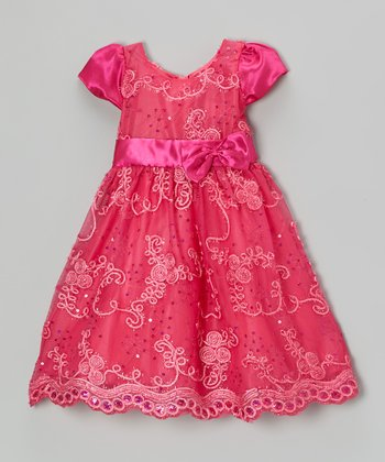 Fuchsia Sequin Vine Satin Dress - Toddler & Girls