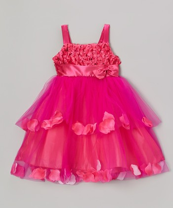 Fuchsia Petal Tiered Dress - Toddler & Girls