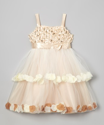 Champagne Petal Tiered Dress - Girls