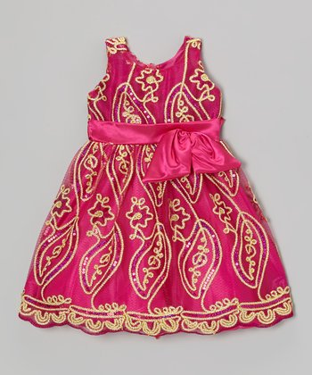Fuchsia Embroidered Sequin Vine Dress - Toddler & Girls