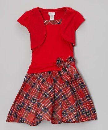 Red Tartan Layered Drop-Waist Dress