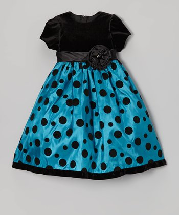 Turquoise & Black Polka Dot Velour Babydoll Dress