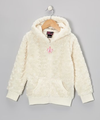 Ivory Butterfly Faux Fur Zip-Up Hoodie - Infant, Toddler & Girls