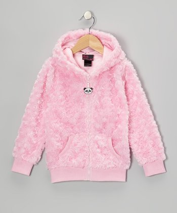 Pink Panda Faux Fur Zip-Up Hoodie - Toddler