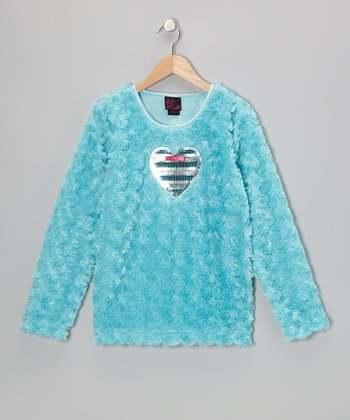 Turquoise Heart Faux Fur Top - Toddler & Girls