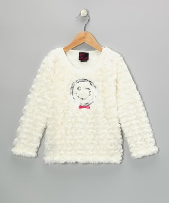Ivory Smiley Faux Fur Top - Toddler & Girls