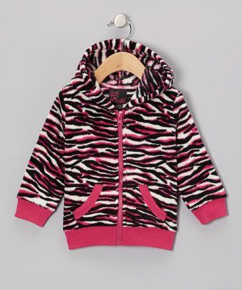 Fuchsia Zebra Zip-Up Hoodie - Girls
