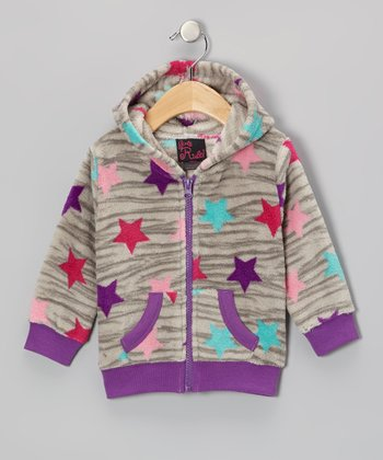 Gray Zebra Star Zip-Up Hoodie - Infant, Toddler & Girls