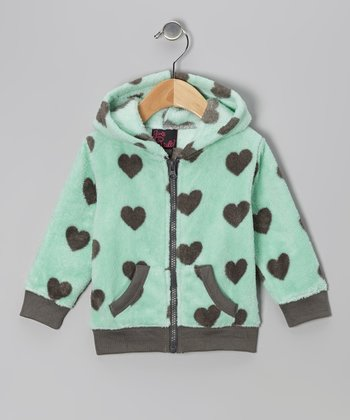 Mint Heart Zip-Up Hoodie - Toddler