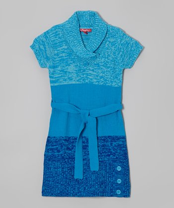 Blueberry Pie Belted Shawl Collar Dress - Girls