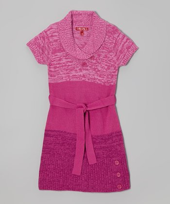 Rose Violet Belted Shawl Collar Dress - Girls