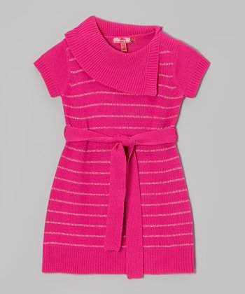 Lollipop Pink & Silver Stripe Split-Neck Dress - Girls