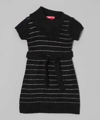 Black & Silver Stripe Split-Neck Dress - Girls