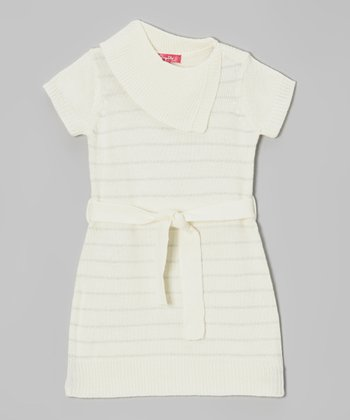 Antique Ivory & Silver Stripe Split-Neck Dress - Girls