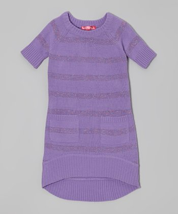 Purple Moon Shimmer Stripe Sweater Dress - Toddler